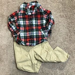 Carter's Baby Boy Flannel & Khaki Outfit